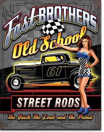 Cooles US Blechschild Fast Brothers Hot Rod