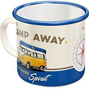 Emaillierter Kaffeebecher im Fifties Stil Kultiges Motiv: Camp Away