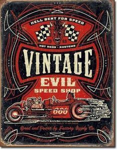US Blechschild Vintage Evil Speed Shop