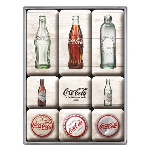9 Teiliges Magnet Set Coca Cola Time Bottles