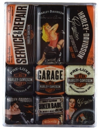 9 Teiliges Magnet Set Harley Davidson Girl