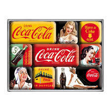9 Teiliges Magnet Set Coca Cola Logos